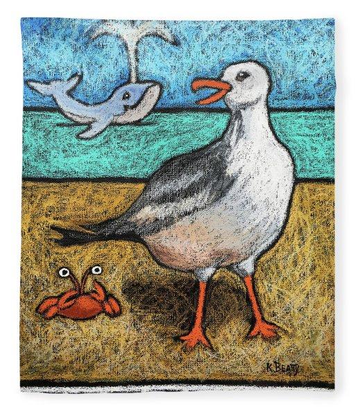Seagull And Friends Fleece Blanket