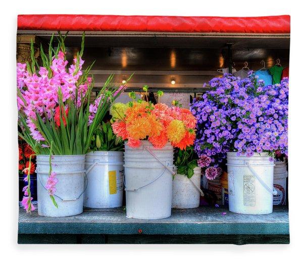 Seattle Flower Market Fleece Blanket