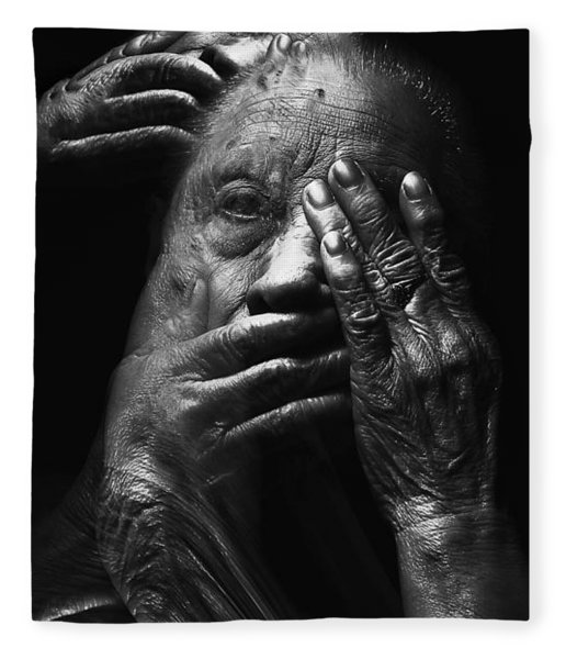 Fleece Blanket featuring the digital art See No Evil Hear No Evil Speak No Evil by ISAW Company