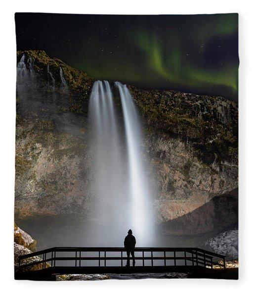 Seljalandsfoss Northern Lights Silhouette Fleece Blanket
