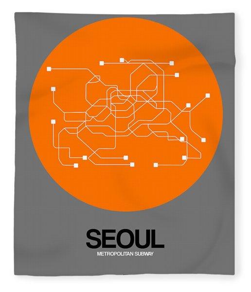 Seoul Orange Subway Map Fleece Blanket