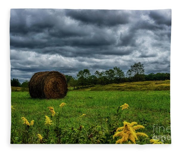 September Stormy Sky Hay Bale Fleece Blanket