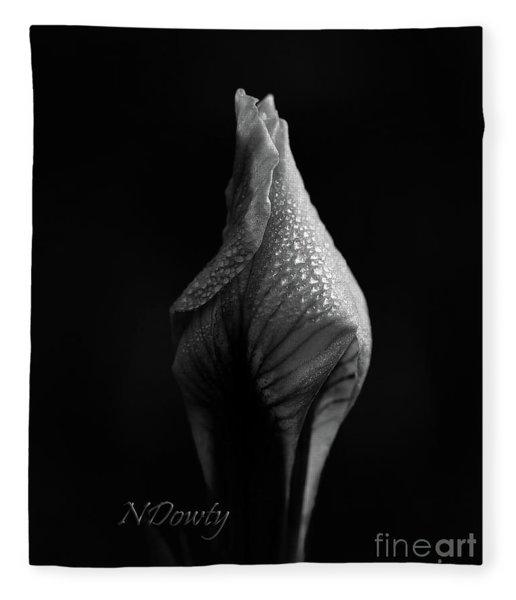 Shadow On Siberian Iris Fleece Blanket