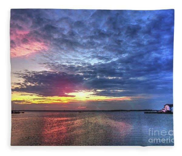 Ship Bottom Sunset Fleece Blanket