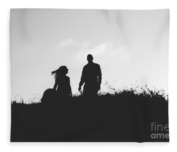 Silhouette Of Couple In Love With Wedding Couple On Top Of A Hil Fleece Blanket