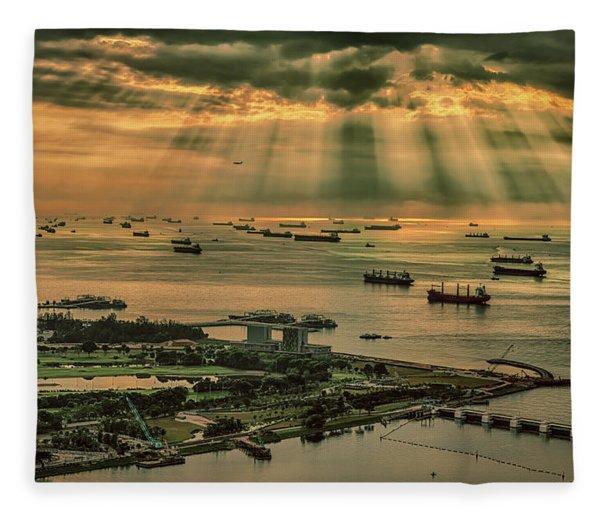 Singapore Harbour Fleece Blanket