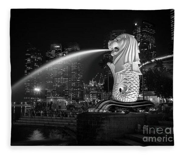 Singapore Merlion Fleece Blanket
