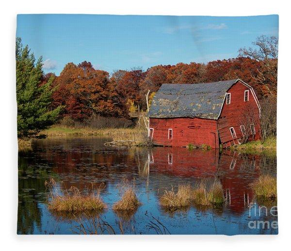 Sinking Red Barn In Fall Fleece Blanket