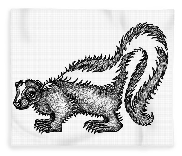 Fleece Blanket featuring the drawing Skunk by Amy E Fraser