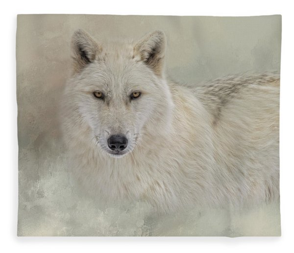 Snow Wolf Fleece Blanket