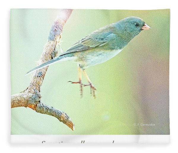 Snowbird Jumps From Tree Branch Fleece Blanket