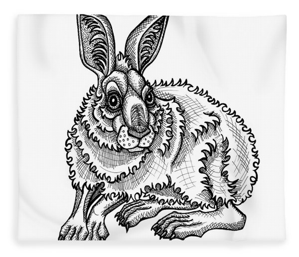 Fleece Blanket featuring the drawing Snowshoe Hare by Amy E Fraser