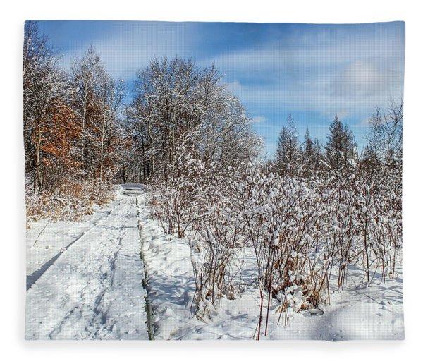 Snowy Boardwalk Fleece Blanket