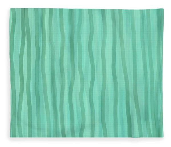 Soft Green Lines Fleece Blanket