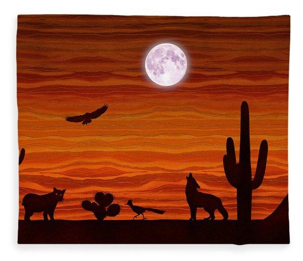 Southwest Desert Silhouette Fleece Blanket