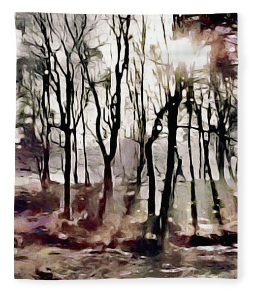 Fleece Blanket featuring the painting Spring Morning Mist by Susan Maxwell Schmidt