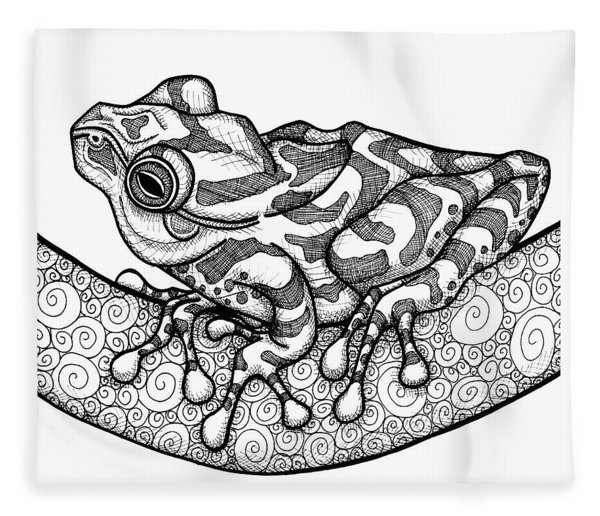 Fleece Blanket featuring the drawing Spring Peeper by Amy E Fraser