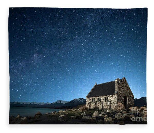 Stars And Midnight Blue Fleece Blanket