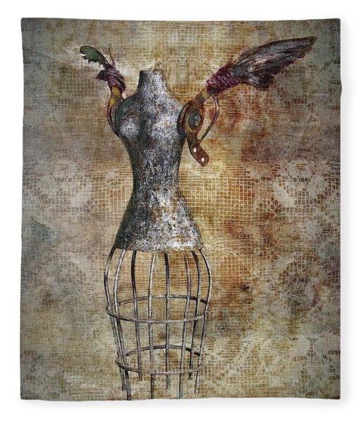 Steampunk Angel  Fleece Blanket