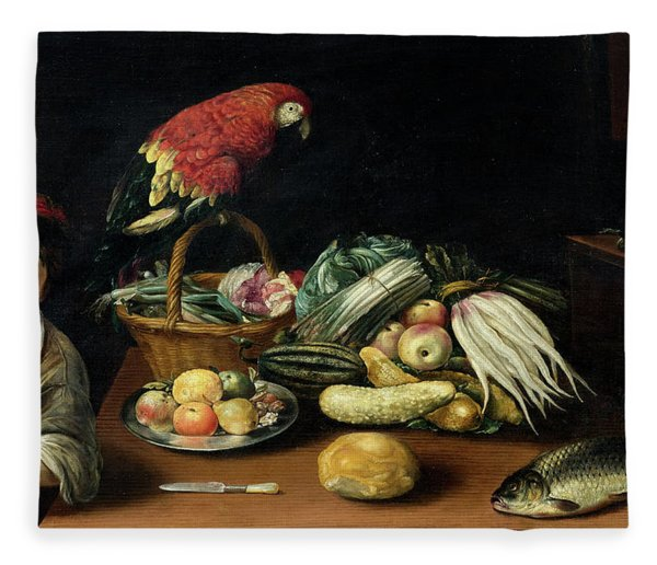 Still Life With Fruit, Parrot, Fish And Vegetables Fleece Blanket