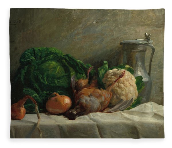 Still Life With Vegetables, Partridge, And A Jug, 1858  Fleece Blanket