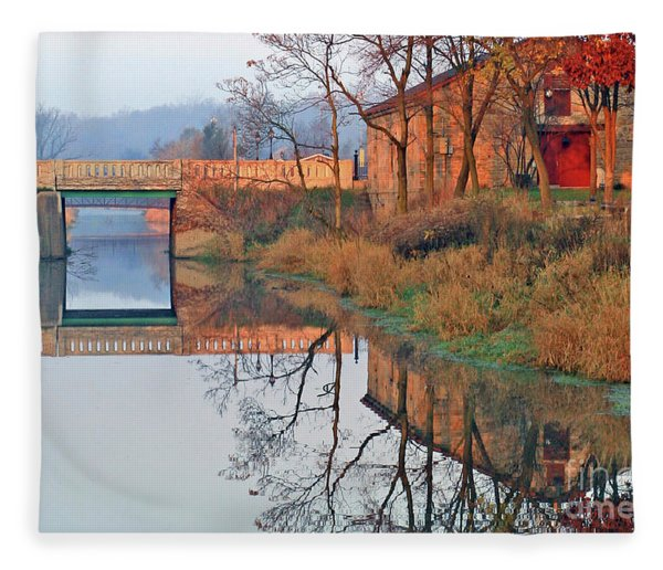 Still Waters On The Canal Fleece Blanket