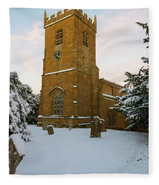 Stone Church In The Snow At Sunset Fleece Blanket