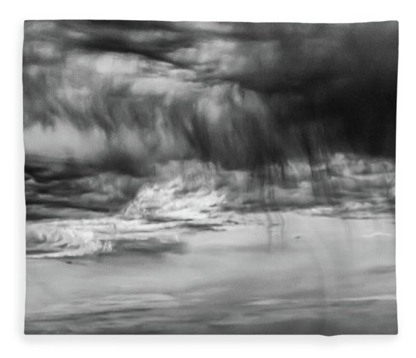 Stormy Sky In Black And White Fleece Blanket