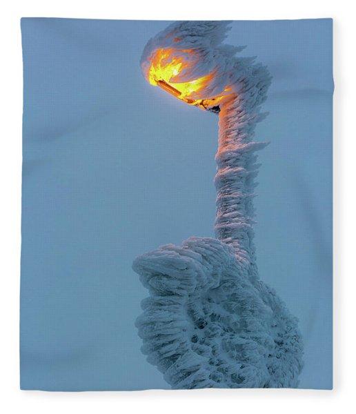streetlight on the Brocken, Harz Fleece Blanket