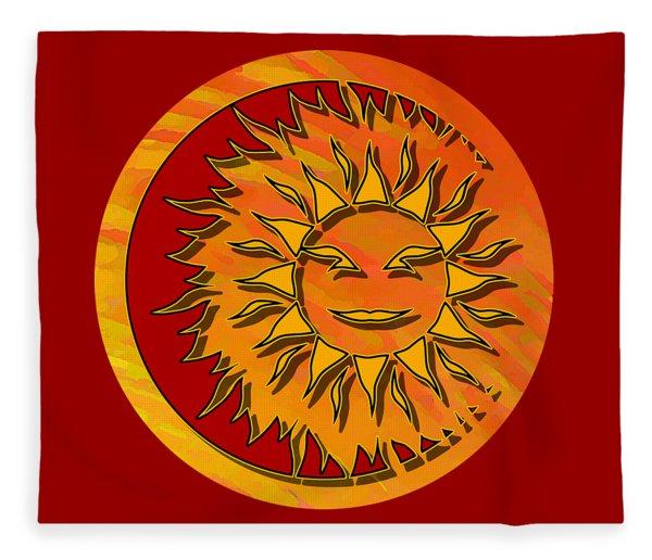 Sun Eclipsing The Moon Fleece Blanket