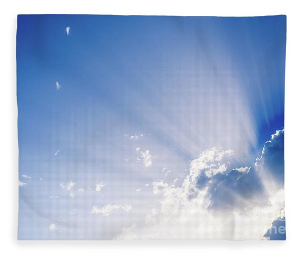 Sunbeams Rising From A Large Cloud In Intense Blue Sky On A Summer Afternoon Fleece Blanket