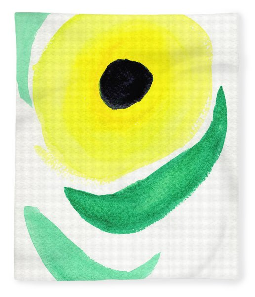 Fleece Blanket featuring the painting Sunflower by Bee-Bee Deigner