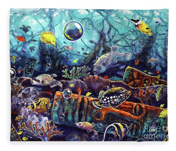 Sunken Tiki Reef Fleece Blanket