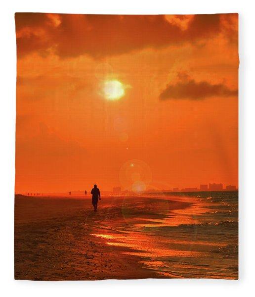 Sunrise Walk On Sanibel Island Fleece Blanket