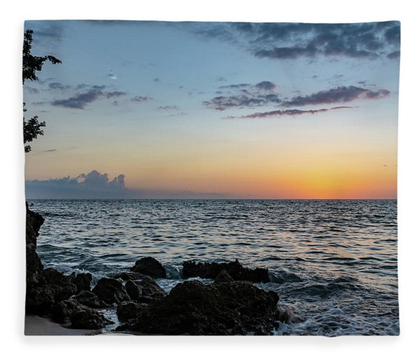 Sunset Afterglow In Negril Jamaica Fleece Blanket