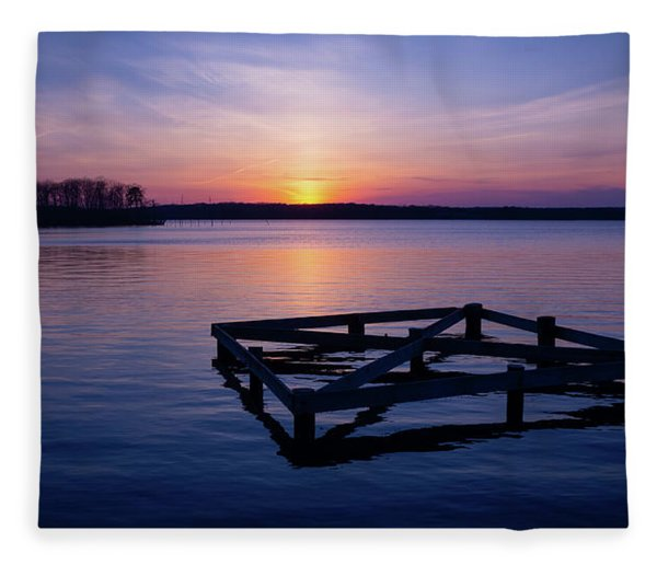 Sunset At The Reservoir  Fleece Blanket