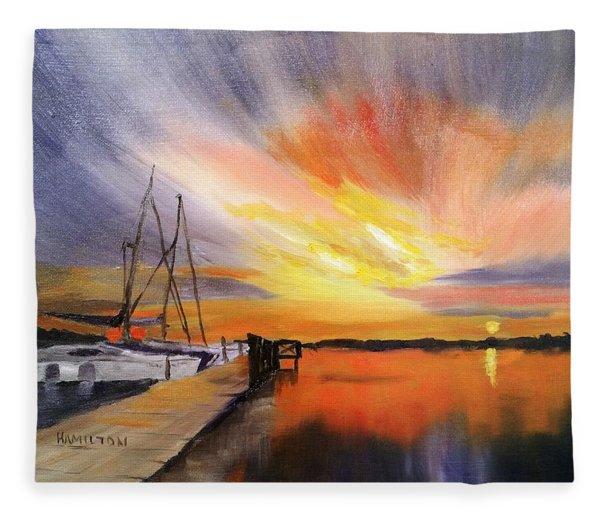 Sunset Harbor Fleece Blanket