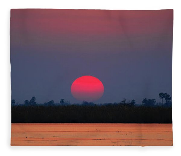 Sunset In Botswana Fleece Blanket