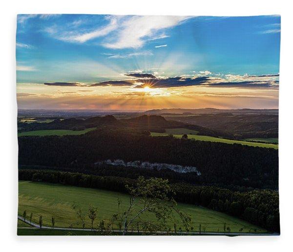 Sunset In Saxon Switzerland, Lilienstein Fleece Blanket