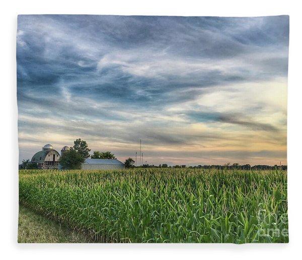 Sunset On The Farm Fleece Blanket