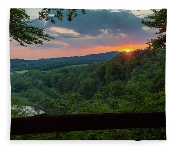 Sunset On The Himmelreich, Southern Harz Fleece Blanket