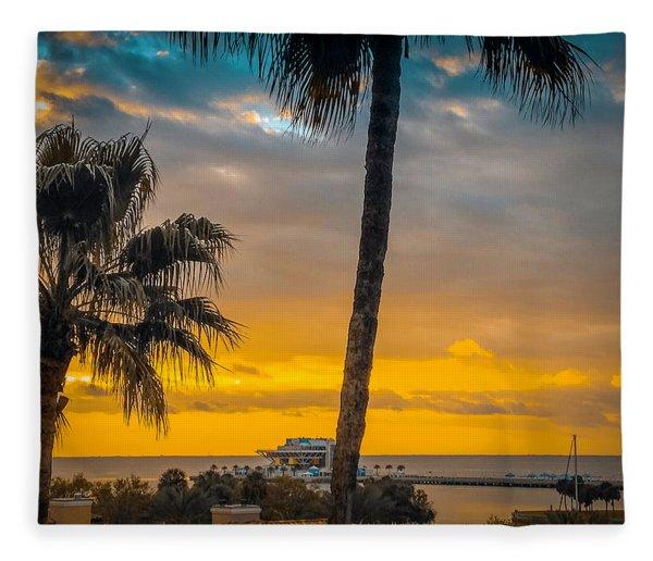 Sunset On The Island Fleece Blanket