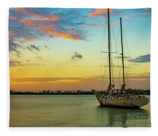 Sunset On The Lagoon Fleece Blanket
