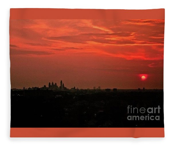 Sunset Over Philly Fleece Blanket