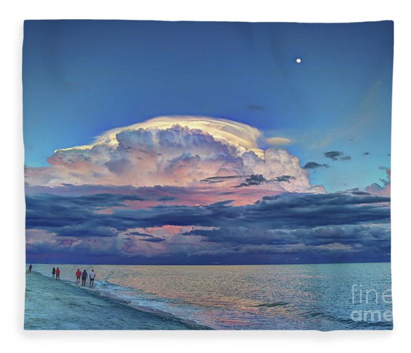 Sunset Over Sanibel Island Fleece Blanket