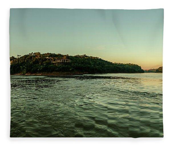 Sunset River Confluence Fleece Blanket