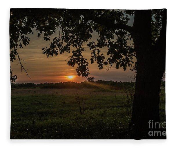 Sunset Under The Tree Fleece Blanket