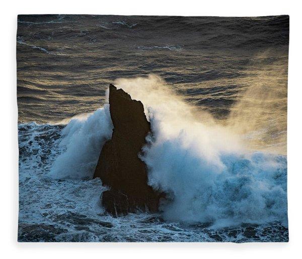 Surf At Sunset Fleece Blanket