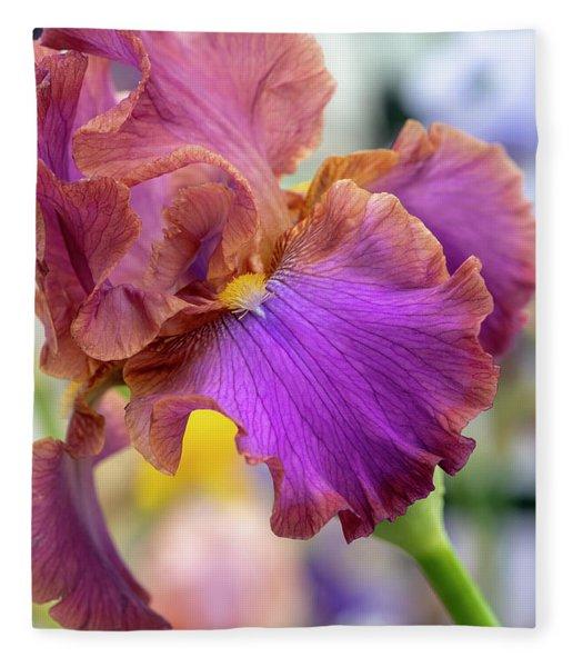 Bearded Iris Fleece Blankets Fine Art America