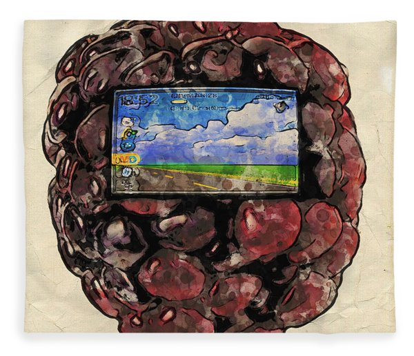 Fleece Blanket featuring the digital art The Blackberry Concept by ISAW Company